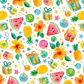 Southern Summer Tropical Christmas on fresh white - small print