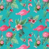 Santa Flamingo Christmas Tropical floral
