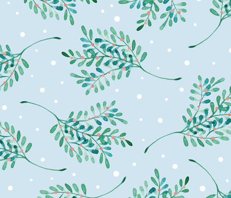 Under the mistletoe fabric by psychae on Spoonflower - custom fabric