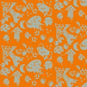 Ditzy grey and Orange Alien mushrooms