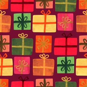 Wrapped Gifts-Maroon