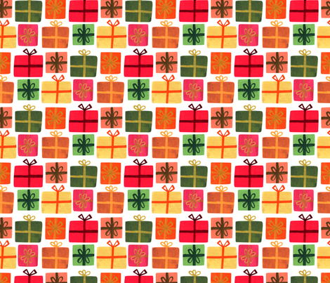 Wrapped Gifts - White fabric by denise_ortakales on Spoonflower - custom fabric