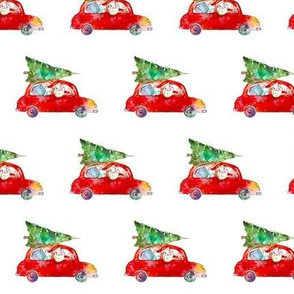 Xmas santa in the car || watercolor pattern