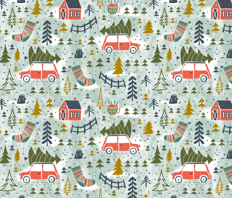 Home For The Holidays - Mint Green fabric by heatherdutton on Spoonflower - custom fabric