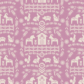 Dala Farm in Pink // swedish folk art dala horse cat rooster pig goat bunny farm pink fabric