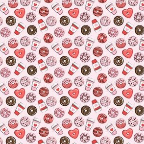 "(1/2"" scale) donuts and coffee - valentines day - red, pink, & chocolate on pink C18BS"