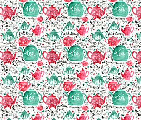 Holiday Teapots - Red and Green fabric by sweetgrasspaperco on Spoonflower - custom fabric
