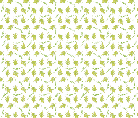 Spring Is Here Leaves and Ribbons fabric by rambling_rose on Spoonflower - custom fabric