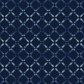 Indigo Blue Pattern Cross Grid Hand Drawn