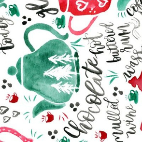 Tea Towel - Holiday Teapots - Red and Green