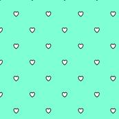 White Black Color Love Heart - Aquamarine Cyan Green Color Background - Heart Love Polka Dot Pattern