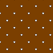 White Black Color Love Heart - Chocolate Brown Color Background - Heart Love Polka Dot Pattern