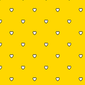 White Black Color Love Heart - Gold Yellow Color Background - Heart Love Polka Dot Pattern