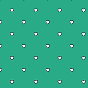 White Black Color Love Heart - Jungle Green Color Background - Heart Love Polka Dot Pattern