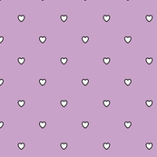 White Black Color Love Heart - Lilac Light Violet Color Background - Heart Love Polka Dot Pattern