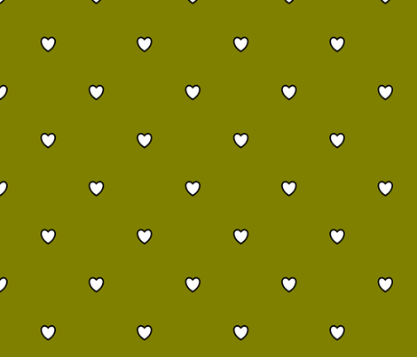 White Black Color Love Heart - Olive Green Color Background - Heart Love Polka Dot Pattern fabric by artpics on Spoonflower - custom fabric