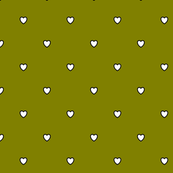 White Black Color Love Heart - Olive Green Color Background - Heart Love Polka Dot Pattern
