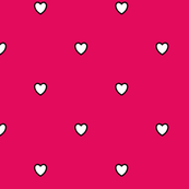 White Black Color Love Heart - Raspberry Color Background - Heart Love Polka Dot Pattern
