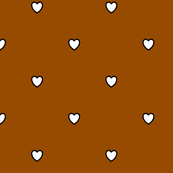 White Black Color Love Heart Brown Color Background Polka Dot Pattern