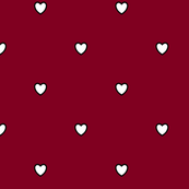 White Black Color Love Heart Burgundy Red Wine Color Background Polka Dot Pattern