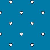 White Black Color Love Heart Cerulean Blue Color Background Polka Dot Pattern