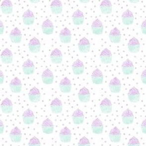 (small scale) watercolor cupcakes (purple & blue) C18BS