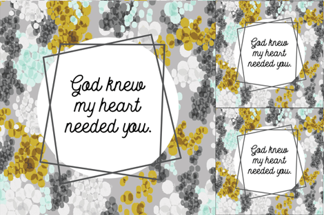 1 blanket + 2 loveys: god knew my heart needed you // gray champagne fizz on light gray fabric by ivieclothco on Spoonflower - custom fabric