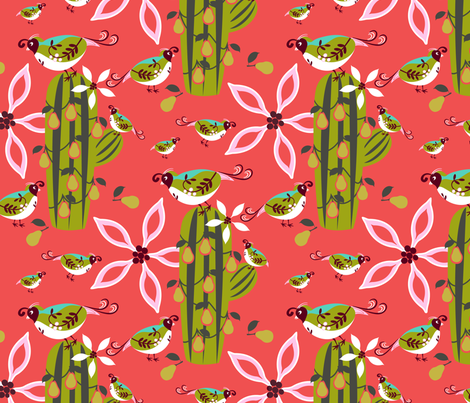 Partridge in a Pear Cactus fabric by lynnbishopdesign on Spoonflower - custom fabric