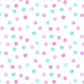 (extra small scale) polka dots - pink, purple, blue, green C18BS