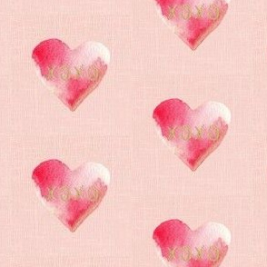 "2.5"" XOXO Red Watercolor Hearts // Blush Linen"