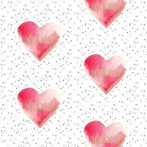 "2.5"" XOXO Red Watercolor Hearts // Black Dots"