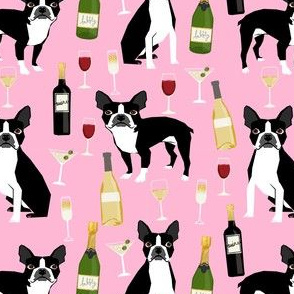 boston terrier wine fabric, dog fabric, dogs fabric, boston terrier design, cute dog fabric, dog design, pet fabric - pink