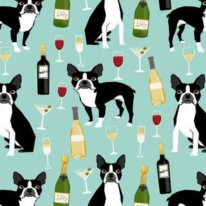 boston terrier wine fabric, dog fabric, dogs fabric, boston terrier design, cute dog fabric, dog design, pet fabric -  mint