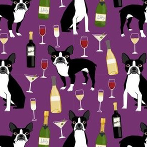 boston terrier wine fabric, dog fabric, dogs fabric, boston terrier design, cute dog fabric, dog design, pet fabric - purple
