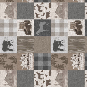 "3"" old farm quilt 12sq - rotated - Soft Brown And grey"