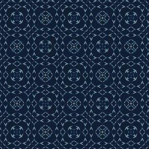 Japanese Lace Indigo Pattern Quilt Grid Ornament