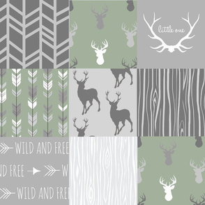 Wholecloth Quilt- Custom green and Grey Deer a Patchwork  Squares-ch-ch-ch