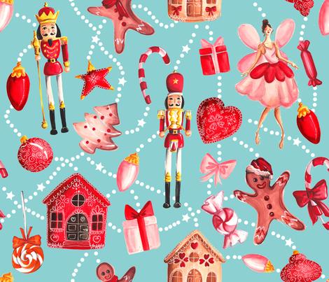 Nutcracker - Turq fabric by dorinus_illustrations on Spoonflower - custom fabric