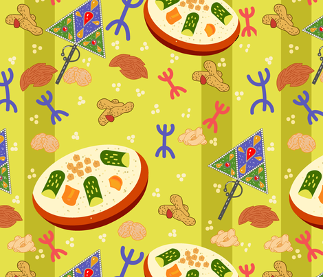 yennayer holidays berber new year fabric by paradise_of_colors on  Spoonflower , custom fabric