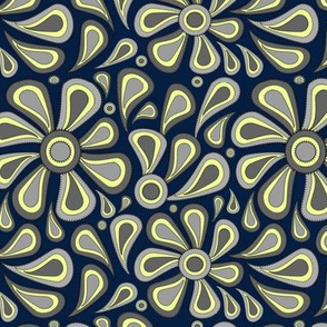 Navy Gray Paisley