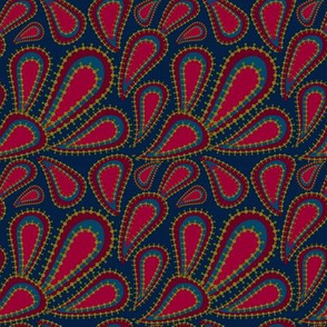 Pear Red & Navy Paisley