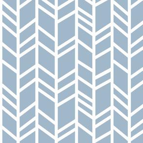 Big crazy Herringbone - steel blue and white