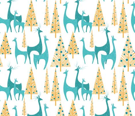 Christmas Morning Deer fabric by vo_aka_virginiao on Spoonflower - custom fabric