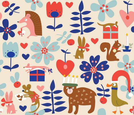 Holiday Hygge_cream_Solvejg Makaretz fabric by solvejg on Spoonflower - custom fabric