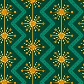 Atomic Christmas- Golden Green // midcentury modern retro atomic age christmas green gold wrapping paper giftwrap