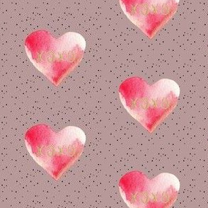 "2.5"" XOXO Pink Watercolor Hearts // Turkish Rose"