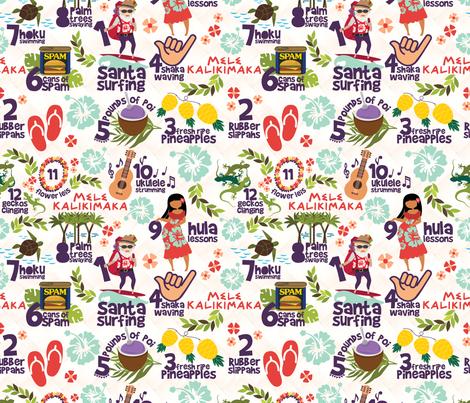 "12 Days of Christmas - Hawaiian Style 10.5"" fabric by chiqdesign on Spoonflower - custom fabric"