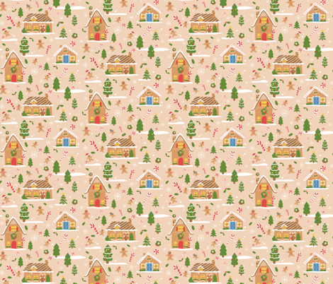 Gingerbread Town fabric by kaylakirschdesign on Spoonflower - custom fabric