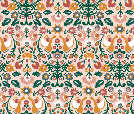 Polish Chirstmas folk art - Wycinanki fabric by melanie_hodge_designs on Spoonflower - custom fabric