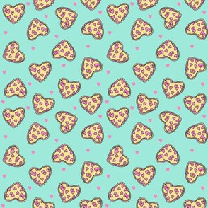 SMALL - pizza hearts // pizza fabric, heart fabric, valentines fabric, cute fabric, cute valentines - mint